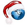 Erdkugel mit dem Hut von Weihnachtsmann