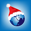 Vector clipart: Santa hat on globe