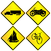 Vector clipart: Metalic transport signs set