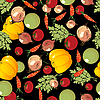 Vegetables pattern on black