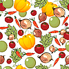 Vegetables pattern on white