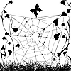 Vector clipart: Grungy spiderweb und butterfly