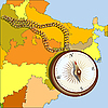 Compass and chain over India map