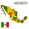 Vector clipart: map of Mexico with flag