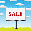 Vector clipart: outdoor billboard with sale sign