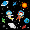 Vector clipart: children astronauts