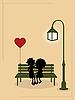 Векторный клипарт: влюбленная парочка на скамейке под уличным фонарем