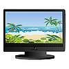 Vector clipart: Beach panorama on LCD monitor