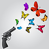 Vector clipart: Butterflies and gun