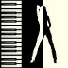 Векторный клипарт: Пианино и силуэт девушки