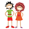 Vector clipart: Couple of kids