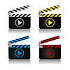 Vector clipart: Movie clapper board icons