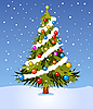 Vector clipart: Decorated Christmas tree