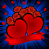 Vector clipart: Red hearts and roses