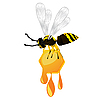 Vector clipart: Wasp and honey