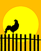 Vector clipart: Rooster on the fence