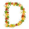 осенняя буквица D из листьев