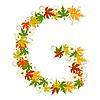 Vector clipart: Autumn floral letter G