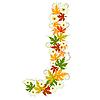 Vector clipart: Autumn floral letter J