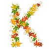 Vector clipart: Autumn floral letter K