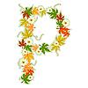 Vector clipart: Autumn floral letter P