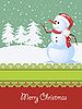 Vector clipart: Christmas card with snowman