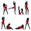Vector clipart: Dancing girls silhouettes