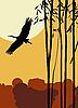 Vector clipart: Flying stork
