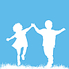 Vector clipart: Running children silhouettes