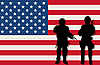 Vector clipart: armed soldiers and US flag