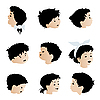 Vector clipart: Children faces, expressions
