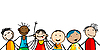 Vector clipart: Smiling faces of kids