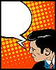 Vector clipart: Speech bubble pop art man