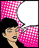 Vector clipart: Speech bubble pop art woman