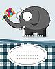 Vector clipart: card with elephant