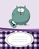 Vector clipart: card with fat cat