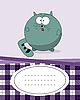 Векторный клипарт: открытка с жирным котом