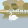 Vector clipart: Swan on lake