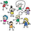 Vector clipart: Children playing silhouettes