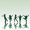 Vector clipart: Five children silhouettes