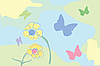 Vector clipart: Flowers and butterflly illustration