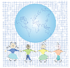 Vector clipart: Friends and globe , art