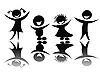 Vector clipart: Kids silhouette in black and white