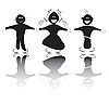 Vector clipart: Happy kids silhouettes