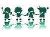 Vector clipart: Happy children silhouettes background