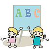 Vector clipart: Happy little kids learning alphabet