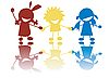 Vector clipart: Happy little children holding hands in colors