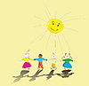 Vector clipart: multiracial kids holding their hands and smiling sun