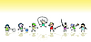 Vector clipart: Kids playing in the sun, art