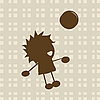 Vector clipart: Little boy playing with ball